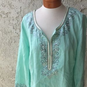 Mint Blue Saks Fifth Avenue Beach Coverup C5